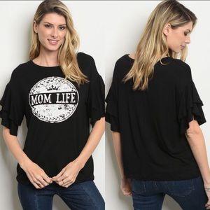 Tops - Mom life cute ruffled sleeved top